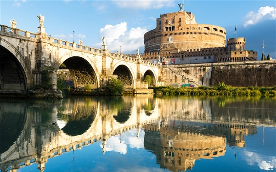 Wallpaper Rome, Italy, fortress, water reflection, bridge, river