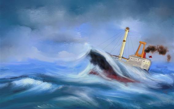 Wallpaper Sea, boat, sea waves, storm, oil painting