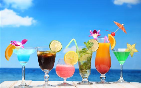 Fond d'écran Six tasses de cocktail, boissons, citron, orange, fleurs, colorées