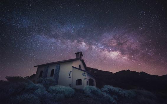 壁紙 星、教会、家、草、夜、スペース