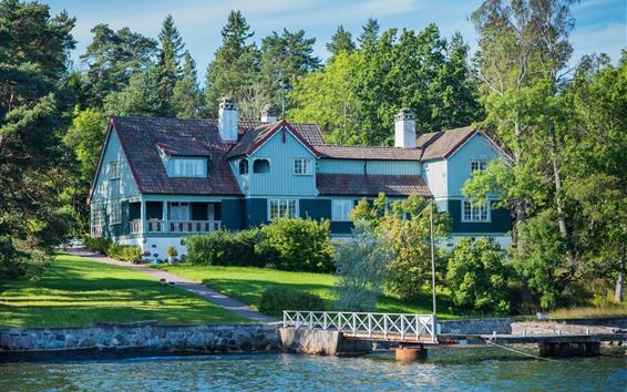 Wallpaper Sweden, Stockholm, house, villa, trees, river