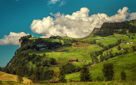 배경 화면 스위스, 나무, 산, 주택, 구름