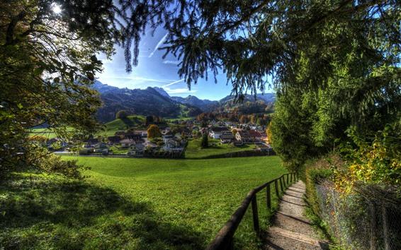 Papéis de Parede Suíça, aldeia, verduras, campos, árvores, casas
