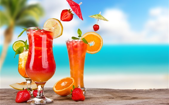 Fond d'écran Trois tasses cocktail, boissons, orange, citron, fraise