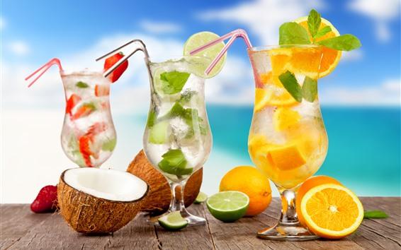 Fondos de pantalla Tres tazas de cóctel, bebidas, limón, mar, tropical.