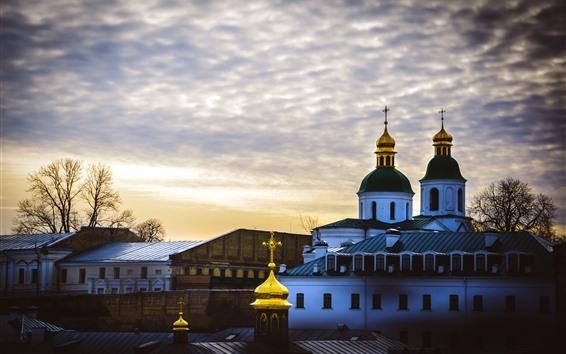 Fond d'écran Ukraine, église, maisons, nuages, ciel, crépuscule