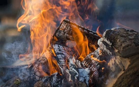 Fondos de pantalla Madera, Fuego, Leña, Flam