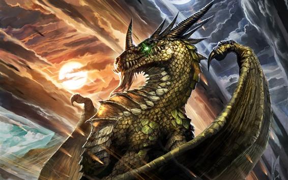 Wallpaper World of Warcraft, dragon, moon, clouds