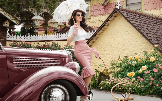 壁紙 若い女の子、傘、モンスター