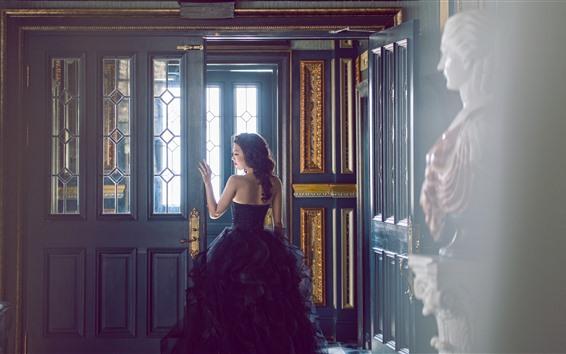 Wallpaper Asian girl, back view, skirt, door, glare