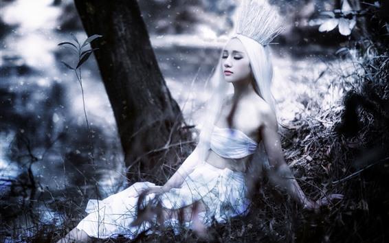 Обои Азиатская девушка, белые волосы, корона, арт-фотография