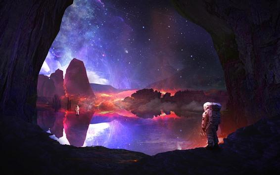 배경 화면 우주 비행사, 별, 호수, 물 반사, 바위, 창조적 인 그림