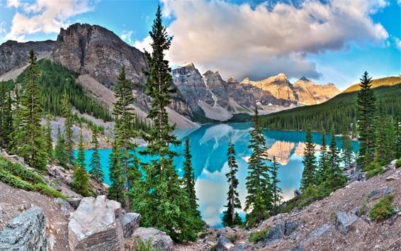 Wallpaper Banff National Park, Alberta, Canada, lake, mountains, trees, clouds