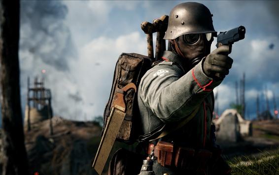 壁紙 戦場1、兵士、銃、ガスマスク