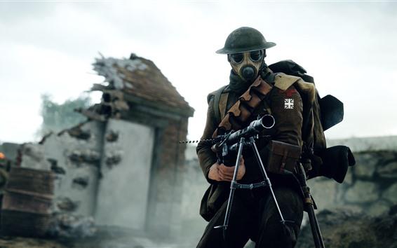 Wallpaper Battlefield 1, soldier, machine gun, helmet