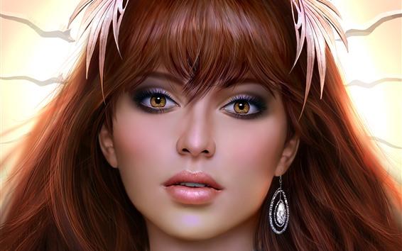 Wallpaper Beautiful brown eyes fantasy girl, look, face