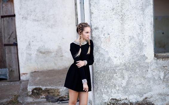 Wallpaper Black skirt girl, braids, look