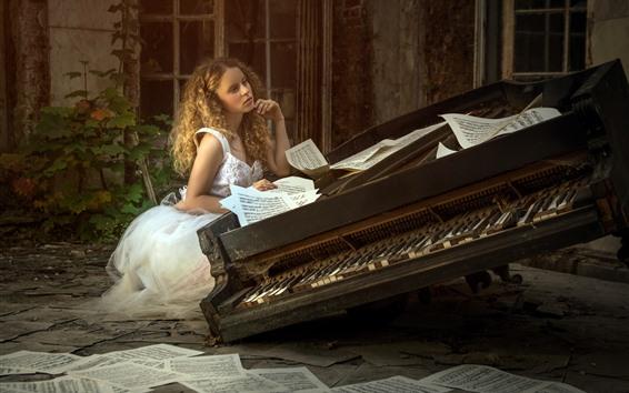Wallpaper Blonde girl, piano, music