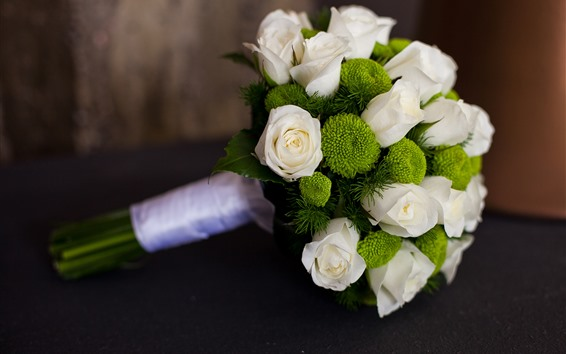 Wallpaper Bouquet, white rose, green flowers