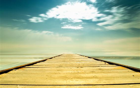 壁紙 橋、海、ビーチ、空、雲、熱帯の