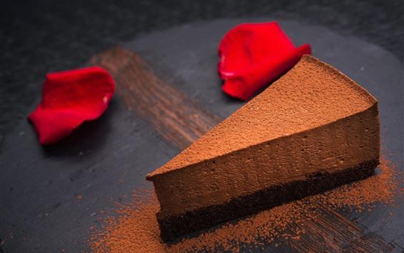 Wallpaper Chocolate cake, powder, rose petals