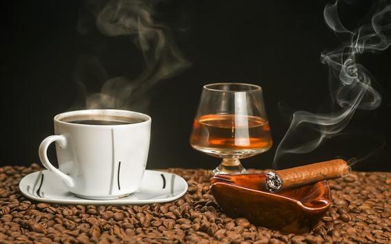 壁紙 コーヒー、紅茶、葉巻、カップ