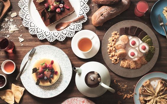 Fondos de pantalla Deliciosa comida, pastel, té, galletas, bayas