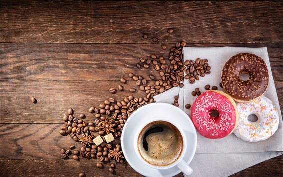 壁紙 ドーナツとコーヒー豆、カップ