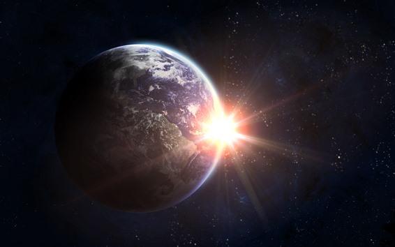 壁紙 地球、太陽、まぶしさ、宇宙