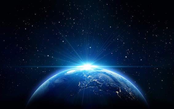 Wallpaper Earth, sun rays, blue style, stars, space