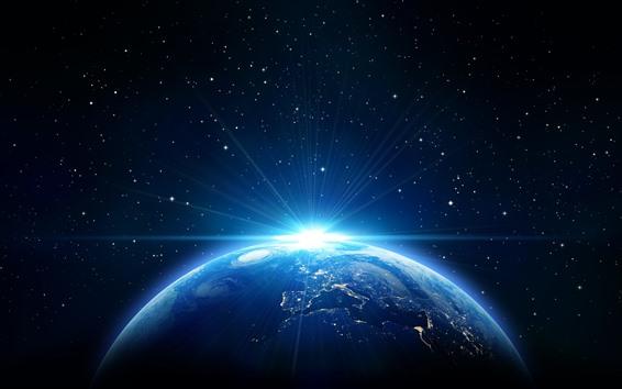 壁紙 地球、太陽光線、青いスタイル、星、宇宙