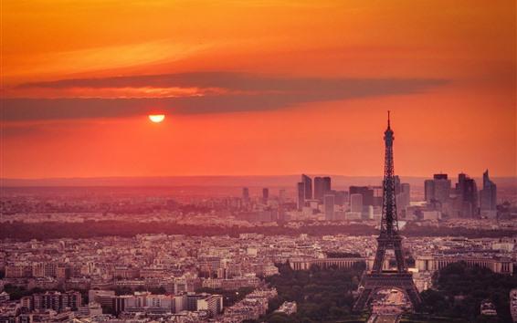 Fond d'écran Tour Eiffel, crépuscule, ville, coucher de soleil, ciel rouge, Paris, France