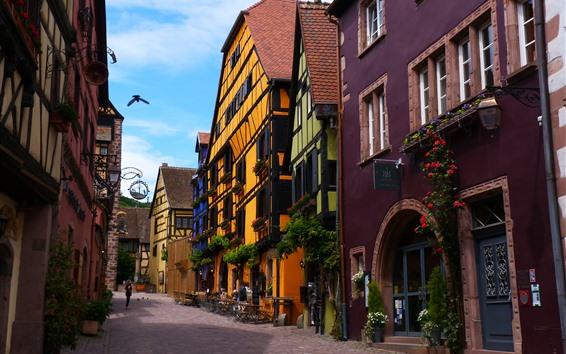 Fond d'écran France, rue, maisons, fleurs