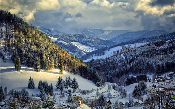 Wallpaper Germany, winter, snow, trees, mountains, village, road
