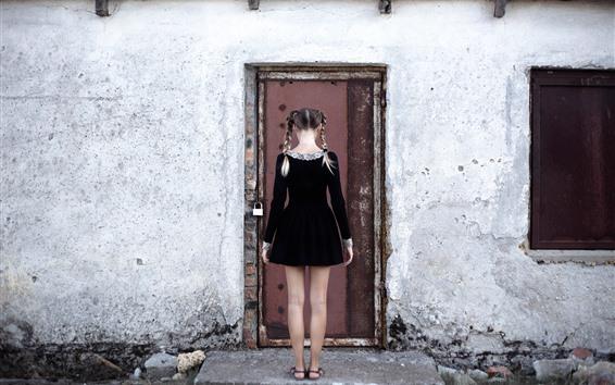 Wallpaper Girl back view, braids, black skirt, door, wall