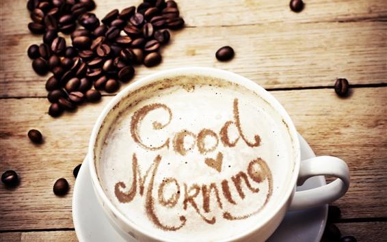 Wallpaper Good morning, coffee, love heart