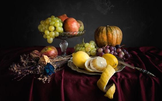 Hintergrundbilder Trauben, Kürbis, Zitrone, Apfel, Messer