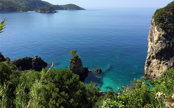 배경 화면 그리스, 코르푸, 바다, 돌, 해안
