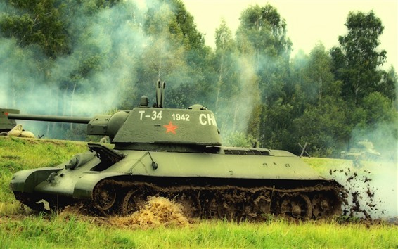 Wallpaper Green, tank, grass, trees