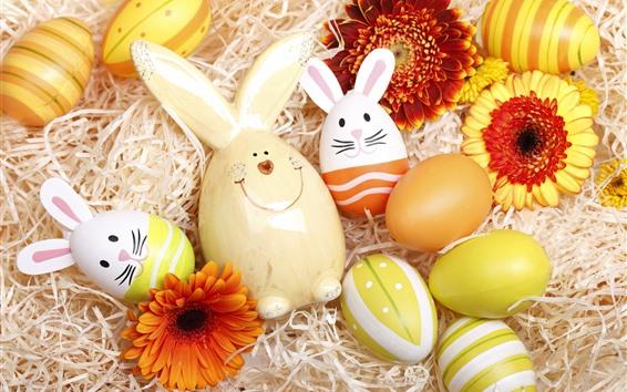 Fondos de pantalla Pascua feliz, huevos coloridos, conejo, flores