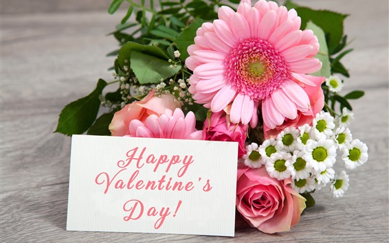 Wallpaper Happy Valentine's Day, gerbera, rose, flowers, romantic