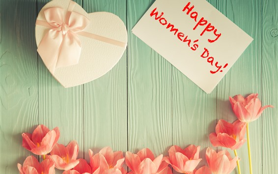 Wallpaper Happy Women's Day, tulips, love heart gift
