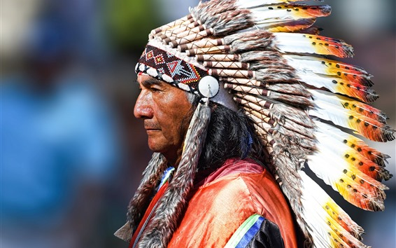 Wallpaper Indian, man, face, decoration, feathers, colors