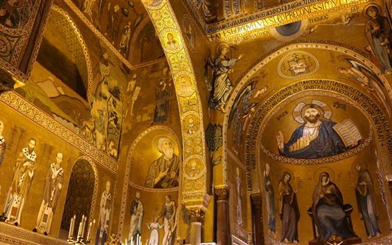 壁紙 イタリア、シチリア州、ノーマン宮殿、チャペル、壁画