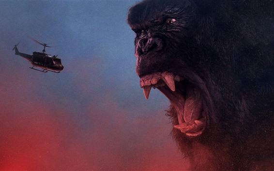 Wallpaper King Kong: Skull Island, angry, helicopter