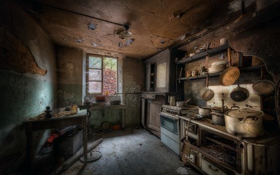 Fond d'écran Cuisine, poussière, fenêtre, table, ruines