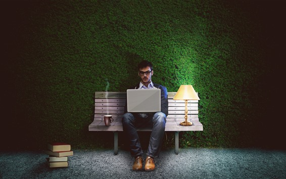 桌布 人,筆記本,長凳,燈,綠色背景