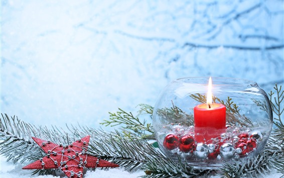 Wallpaper Merry Christmas, star, candle, flame, snow, glass jar