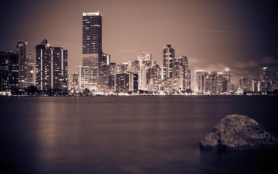 Fondos de pantalla Miami, Florida, Noche, Ciudad, Rascacielos, Río, Luces, Piedra, EE.UU.