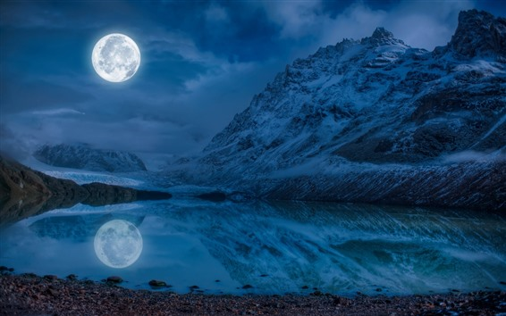 Wallpaper Moon, lake, snow, mountains, winter, night